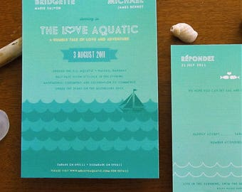 Love Aquatic Water themed Invitations by Earmark, boat wedding, tropical invite, seaside invite, wes anderson, cruise wedding, cruise invite