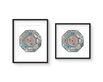 TILE no.38 - Abstract Modern Geometric Turkish Boheme Style Tile Art Print