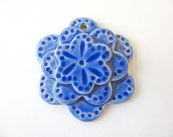 Blue Mandala Pendant Earthenware Clay
