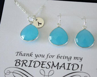 8 Monogram Bridesmaid Necklace and Earring set Blue, Bridesmaid Gift, Aqua Blue Gemstone, Sterling Silver, Initial Jewelry, Personalized