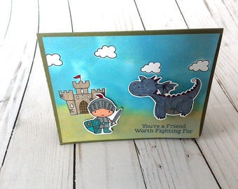 Just Because Card, Thank You Card, Thinking of You Card, Dragon Card, Medieval Card, Knight Card, Masculine Card, Blank Card, Card for Him