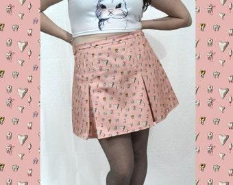 Teeth Pleated Skirt - Pink - Pastel Goth - Punk