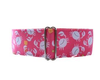 Crab Martingale Dog Collar, Crab Dog Collar, 2 Inch Martingale Collar, Pink Dog Collar, Whippet Collar, Made in Canada, Sighthound Collar