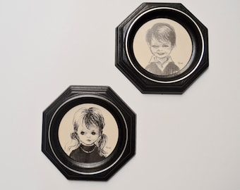 Vintage Big Eye Girl and Boy Framed Art by Huisel