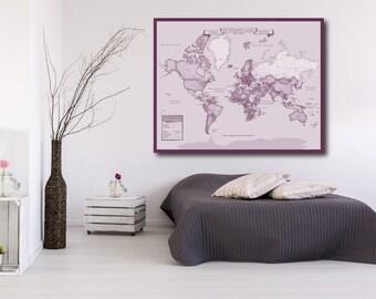 Custom World Map Art Print, World Custom Push Pin Map, Custom Push Pin World Map, Custom Map, Custom Canvas Map //H-I14-1PS AA3 OP21