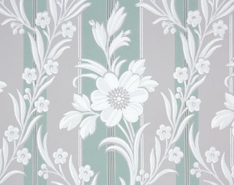 1940s Vintage Wallpaper by the Yard - Floral Wallpaper Gray and Green Stripe with White Flowers