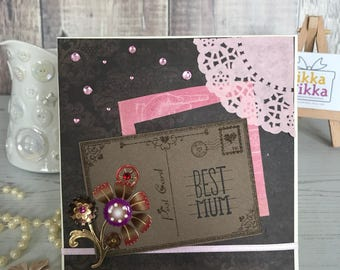 Romantic Mother's Day card, pink  mum card, Handmade Card, luxury birthday card, handcrafted, colourful card, special occasion, unique card