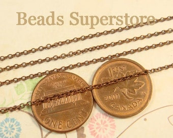 2 mm x 1.5 mm Antique Copper-Plated Brass Cross Chain - Nickel Free and Lead Free - 3 meters (about 10 feet)