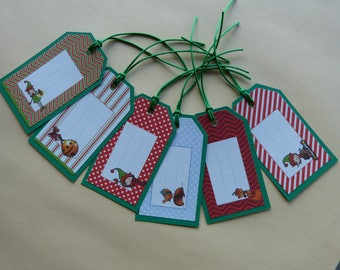 Set of six gift tags, goblins