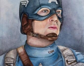 Captain America - Steve Rogers - Chris Evans - Watercolor Art Print