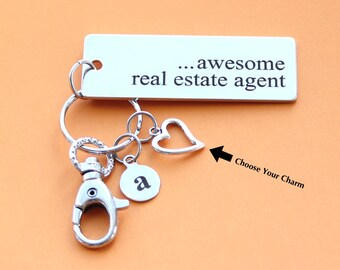 Personalized Real Estate Agent Key Chain Stainless Steel Customized with Your Charm & Initial -K475