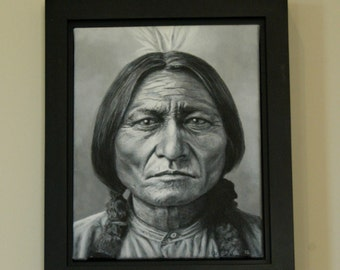 Original Canvas Painting, SITTING BULL ~ Framed 17 x 14 inches