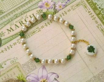 "St. Patricks Day Bracelet Emerald Clover Shamrock Bracelet ""Erin go Bragh"" Classy Dainty & Elegant St.Patricks Day Jewelry Shamrock Jewelry"