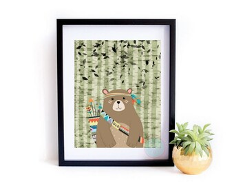 PRINTABLE Art Bear Print Bear Wall Art Woodland Bear Woodland Animal Print Woodland Nursery Tribal Decor Tribal Nursery Tribal Wall Decor,