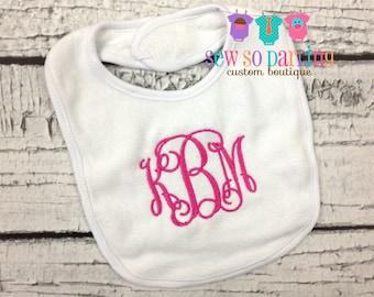 Monogrammed Bib - Baby Girl Monogram Bib - Monogram baby bib - baby gift - Baby Girl Bib - 3 Initials Bib