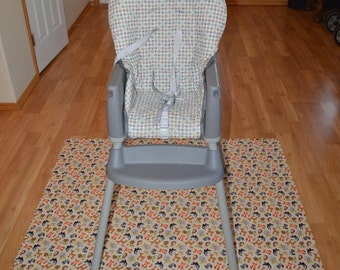 Forest Friends Splat Mat / Art  Mat - Baby High Chair Washable Protection - Choose Your Patttern