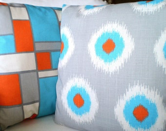 Aqua Orange Gray Pillow Covers, Decorative Throw Pillows, Cushions, Grey Orange Aqua Cream Ikat Domino Hopscotch Set of Two Various Sizes