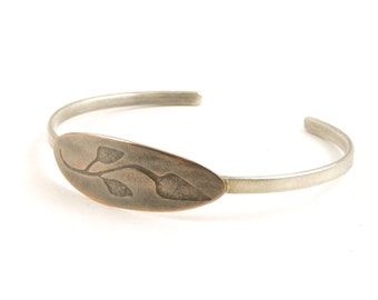 Simple cuff, mixed metals botanical cuff, copper and sterling silver branch cuff bracelet, ready to ship.