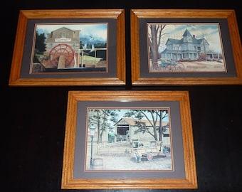 John Zed King Matted Signed Print Set of 3 Rural America Solid Oak Frames