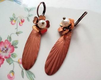 Dangle earrings copper earrings pendant earrings vintage copper flowers long earrings