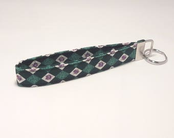 Green and White Diagonal Check with Purple Roses Fabric Keychain / Wristlet / Key Fob