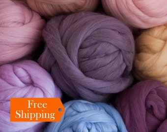 Merino Wool Yarn SALE! 100% Merino Wool Roving For Chunky Knit Blanket Throw. Arm Knitting Yarn For Chunky Knitted Scarf Gift For Mom