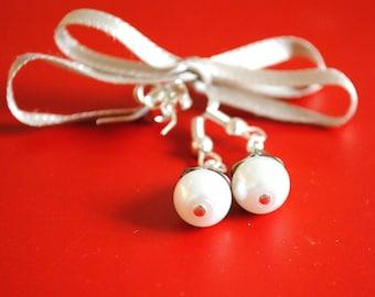 Vintage Petal and Pearl Earrings