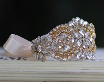Gold Crystal Bridal Cuff, Gold Beaded Crystal Cuff, Crystal Wedding Cuff Bracelet, GEMIMA G
