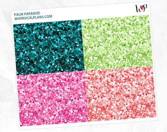Palm Paradise Glitter Headers | Matte Glossy Planner Stickers