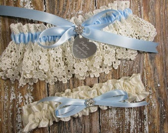 Personalized Ivory and Blue Wedding Garter Set in Lace with Engraving, a Bow and Rhinestones