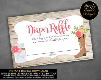 INSTANT DOWNLOAD Cowgirl Diaper Raffle Ticket
