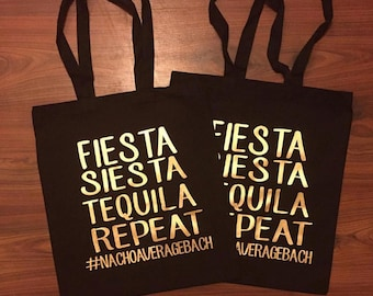 Fiesta Siesta Tequila Repeat Canvas Tote, Shopping Tote, Fun Tote Bag,Canvas Tote, Bachelorette Tote Bag, Custom Hash Tag, Bachelorette Gift