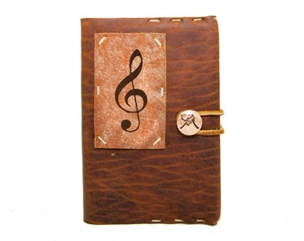 Small Leather Journal with Treble Clef in Whiskey Ember