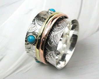 Turquoise Floral spinning ring