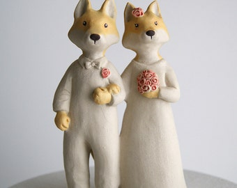 wedding cake topper -foxes - fox couple - bride and groom - unglazed