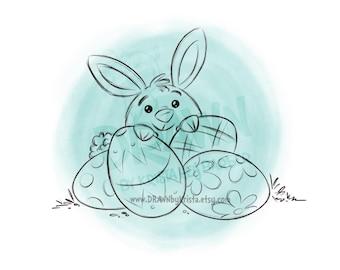 Easter Bunny behind Eggs- Digital Stamp Art/ KopyKake Image- SP68- BUNEGG