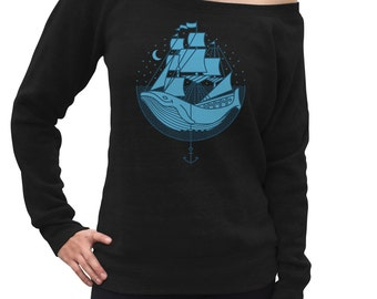 Whale Ship Scoop Neck Sweatshirt - Whale Lover Gift - Marine Biologist - Save the Whales Nautical Shirt - Marine Biology - Off the Shoulder