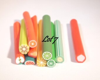 Set of 10 canes polymer fruit 50mm