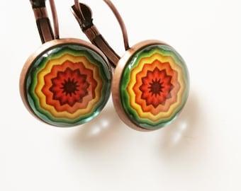Rainbow earrings Mandala earrings Glass cabochon Boho jewelry