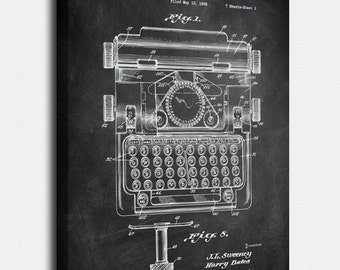 Typewriter Canvas, Typewriter Patent, Typewriter Vintage, Typewriter Blueprint, Typewriter Print, Prints, Wall Art, Decor