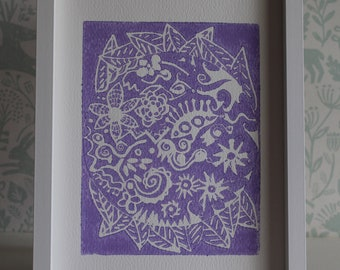 Lino Print -Limited Edition - A4 Linocut -Titled Twylight Sunset - Lilac relief print - linoleum print on acid free paper.