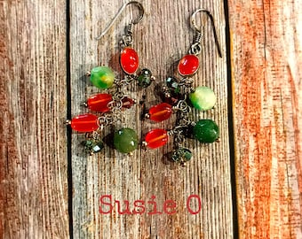 Carnelian cluster cascade earrings