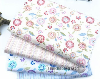 Shabby Red Blue Floral Cotton Fabric Coordinate Fabric Flower Stripes Cotton Fabric- 1/2 Yard