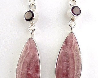 Earrings silver RHODOCROSITE stone natural rhodochrosit jewel esotericism aje1.19 protective heart chakra