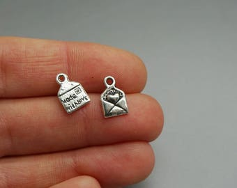SET of 5 charms envelope made with love Silver (A29)