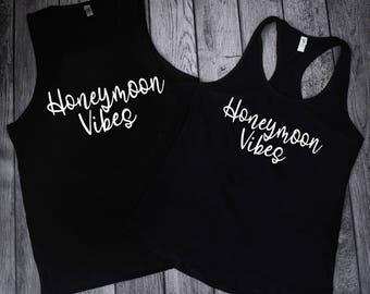 Honeymoon Shirts, Honeymoon Vibes, Shirts For Honeymoon, Matching Husband And Wife Sets, Wedding Day Shirts, Honeymoon tamk