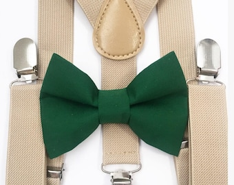 FREE DOMESTIC SHIPPING! Tan suspenders and hunter green bow tie kids children wedding pictures birthday formal family photo