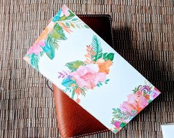 Watercolor Tropical Flowers Traveler's Notebook Insert | Midori Insert | TN Insert | Fauxdori | Tomoe River | A5 B6 Passport Standard Pocket