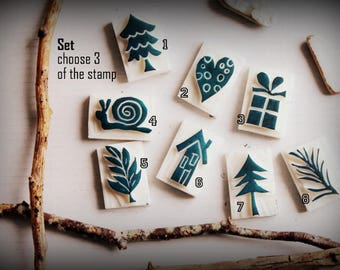 3 Mini carved stamp / Set /choose your stamps