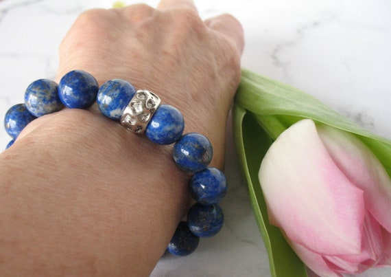 Lapis Lazuli Bracelet in Celestial Blue with Silver Metal Bead, Beaded Bracelet with Healing Properties, Gift for Mom, Mothers Day Gift